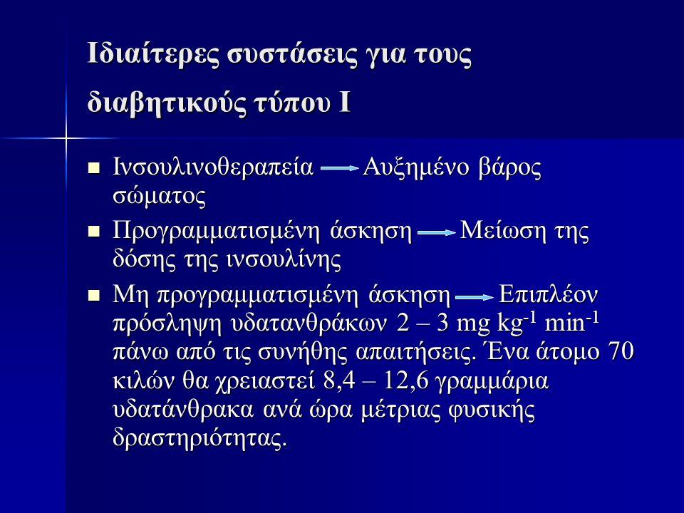 Ιδιαίτερες συστάσεις για τους διαβητικούς τύπου Ι