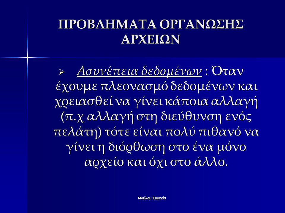 ΠΡΟΒΛΗΜΑΤΑ ΟΡΓΑΝΩΣΗΣ ΑΡΧΕΙΩΝ