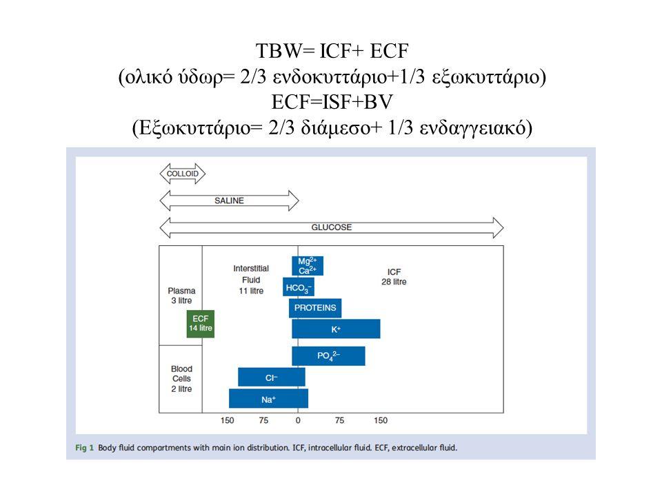 ΤBW= ICF+ ECF (ολικό ύδωρ= 2/3 ενδοκυττάριο+1/3 εξωκυττάριο) ECF=ISF+BV (Εξωκυττάριο= 2/3 διάμεσο+ 1/3 ενδαγγειακό)