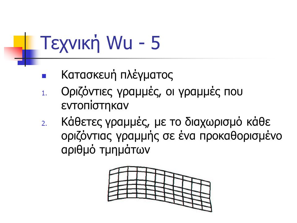 Τεχνική Wu - 5 Κατασκευή πλέγματος