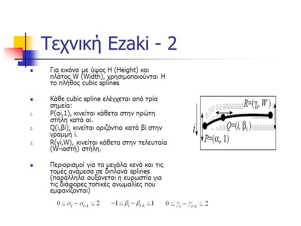 Τεχνική Ezaki - 2 Για εικόνα με ύψος H (Height) και πλάτος W (Width), χρησιμοποιούνται H το πλήθος cubic splines.
