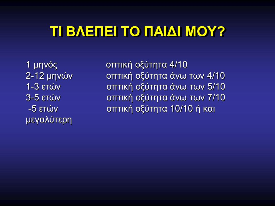 ΤΙ ΒΛΕΠΕΙ ΤΟ ΠΑΙΔΙ ΜΟΥ 1 μηνός οπτική οξύτητα 4/10
