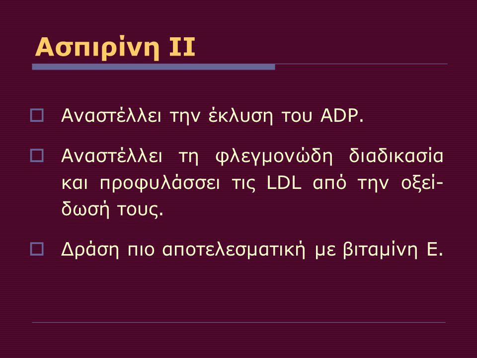 Ασπιρίνη ΙΙ Αναστέλλει την έκλυση του ADP.
