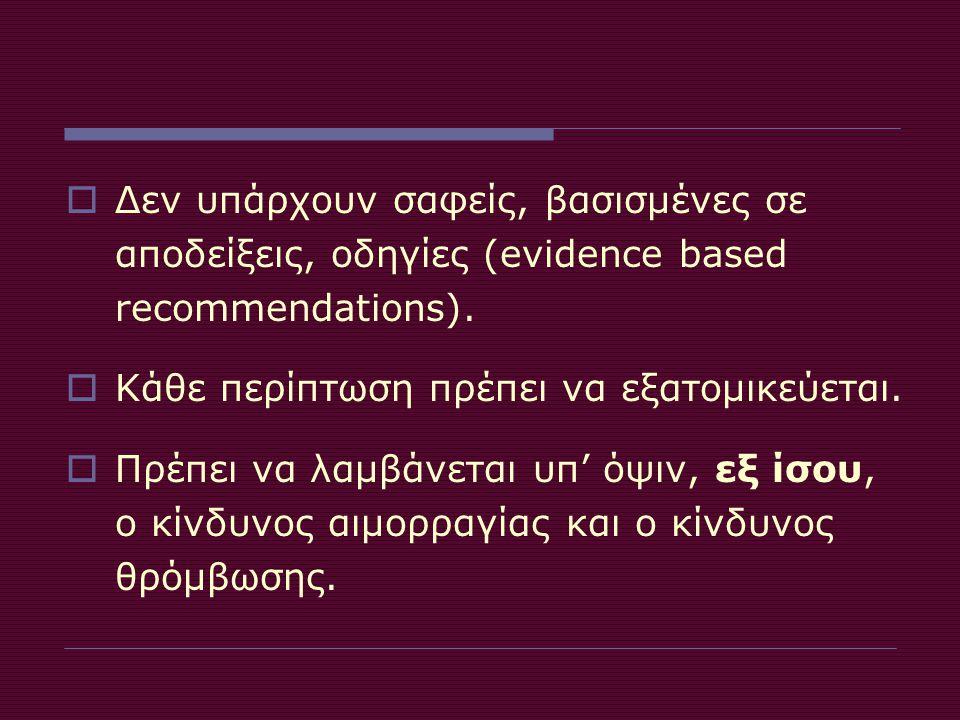 Δεν υπάρχουν σαφείς, βασισμένες σε αποδείξεις, οδηγίες (evidence based recommendations).
