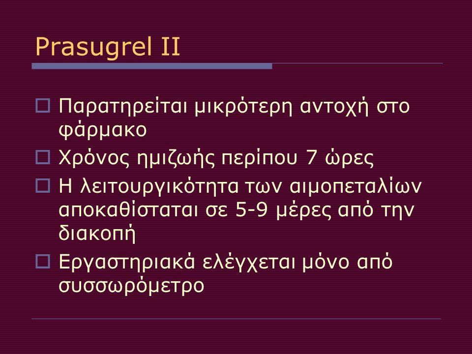 Prasugrel II Παρατηρείται μικρότερη αντοχή στο φάρμακο