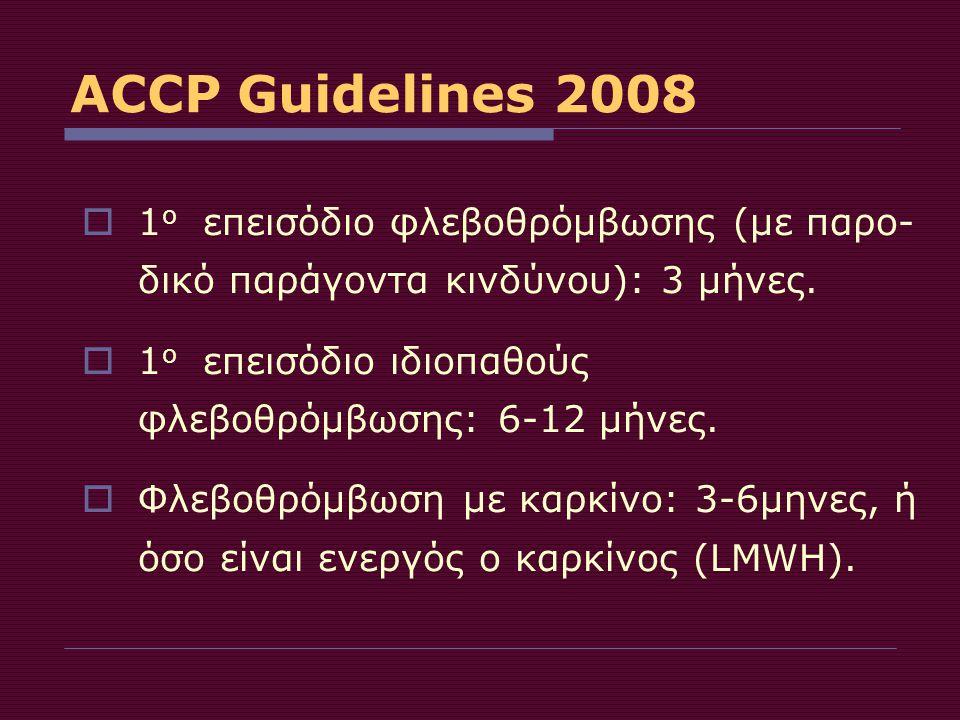 ACCP Guidelines 2008 1ο επεισόδιο φλεβοθρόμβωσης (με παρο-δικό παράγοντα κινδύνου): 3 μήνες. 1ο επεισόδιο ιδιοπαθούς φλεβοθρόμβωσης: 6-12 μήνες.