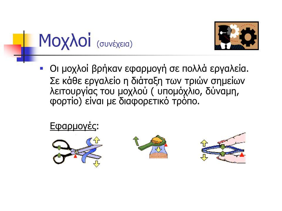 Μοχλοί (συνέχεια) Οι μοχλοί βρήκαν εφαρμογή σε πολλά εργαλεία.