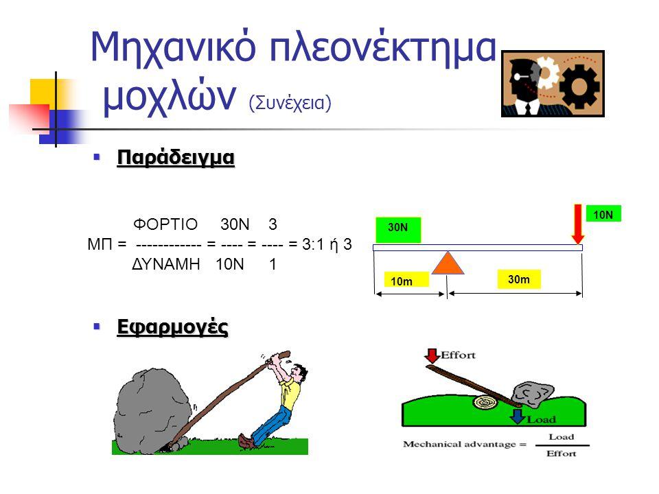 Μηχανικό πλεονέκτημα μοχλών (Συνέχεια)