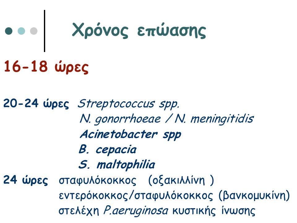Χρόνος επώασης 16-18 ώρες 20-24 ώρες Streptococcus spp.