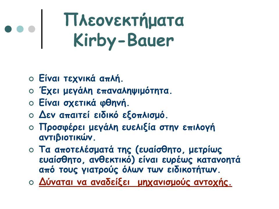 Πλεονεκτήματα Kirby-Bauer