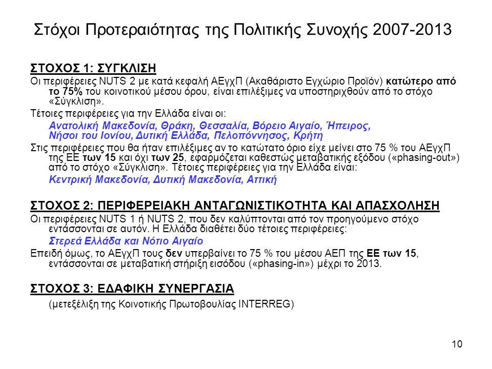 Στόχοι Προτεραιότητας της Πολιτικής Συνοχής 2007-2013