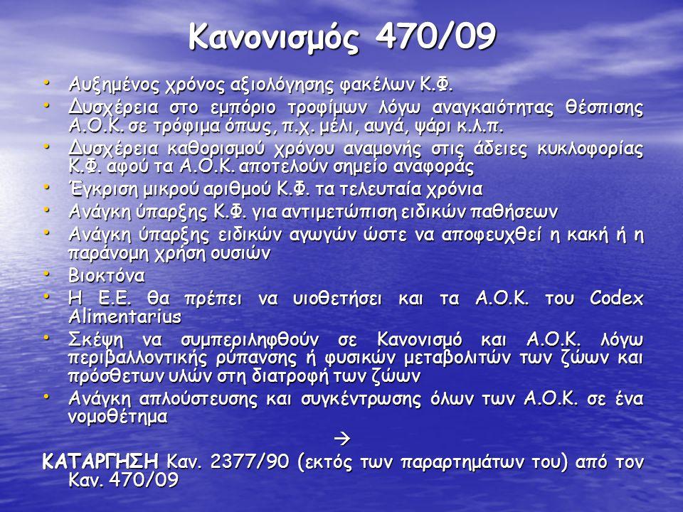 Κανονισμός 470/09 Αυξημένος χρόνος αξιολόγησης φακέλων Κ.Φ.