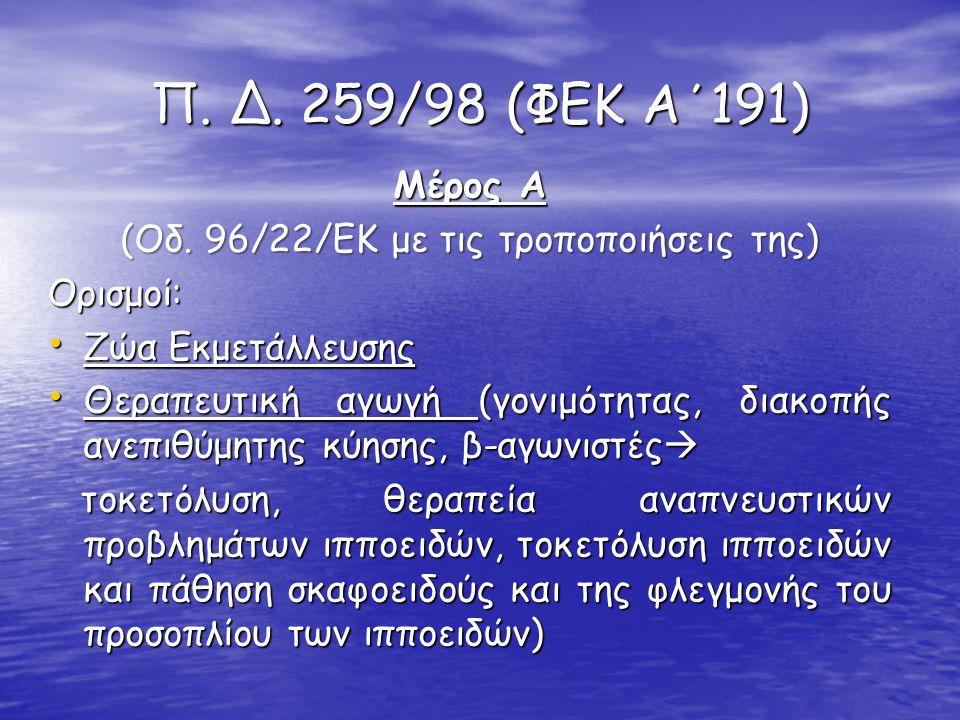 (Οδ. 96/22/ΕΚ με τις τροποποιήσεις της)