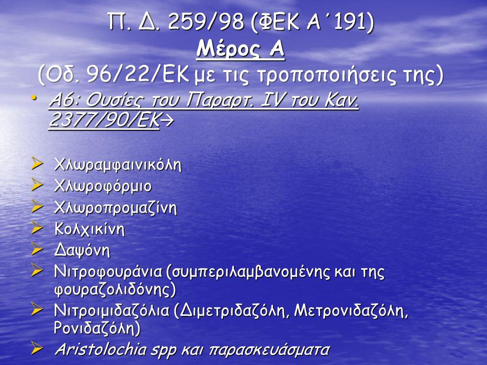 Π. Δ. 259/98 (ΦΕΚ Α΄191) Μέρος Α (Οδ. 96/22/ΕΚ με τις τροποποιήσεις της)