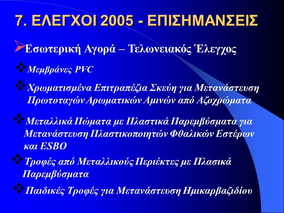 7. ΕΛΕΓΧΟΙ 2005 - ΕΠΙΣΗΜΑΝΣΕΙΣ