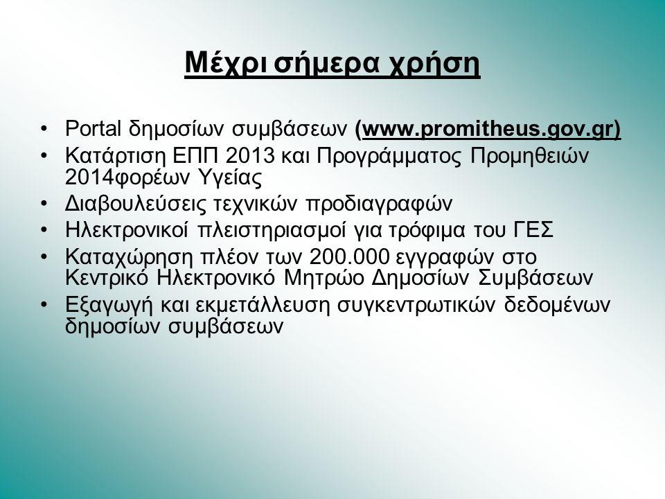Μέχρι σήμερα χρήση Portal δημοσίων συμβάσεων (www.promitheus.gov.gr)