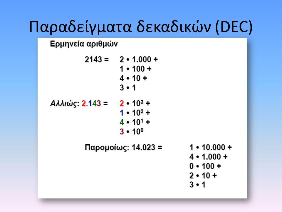 Παραδείγματα δεκαδικών (DEC)