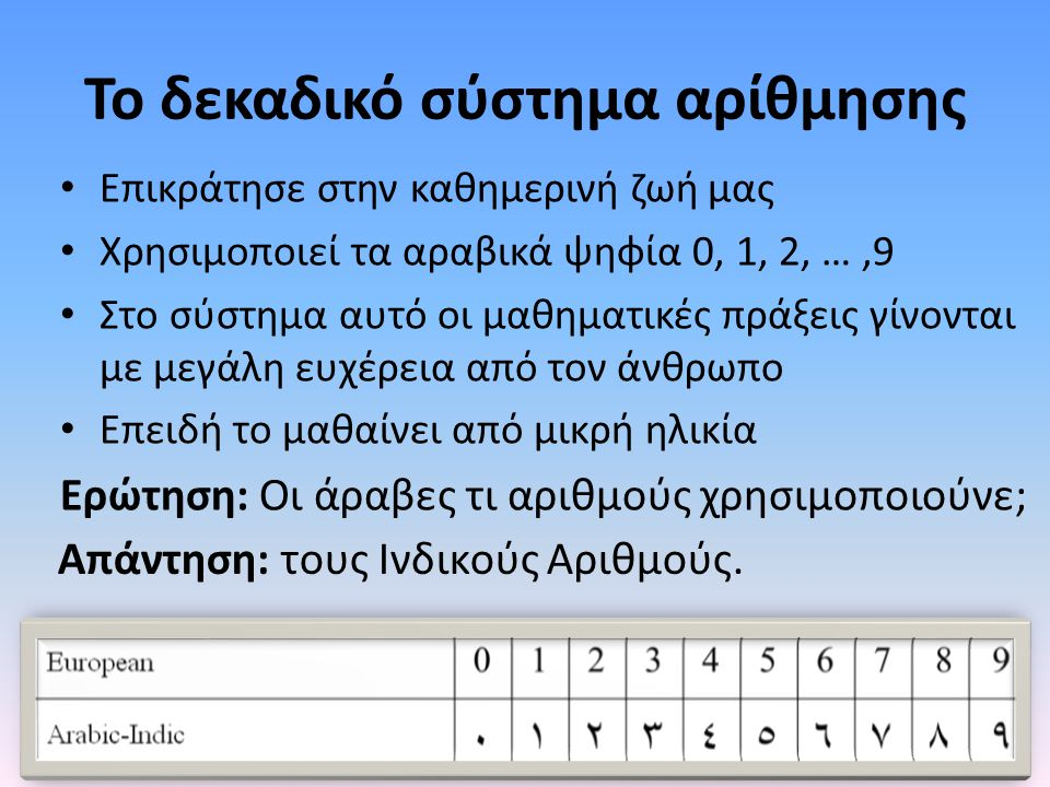 Το δεκαδικό σύστημα αρίθμησης