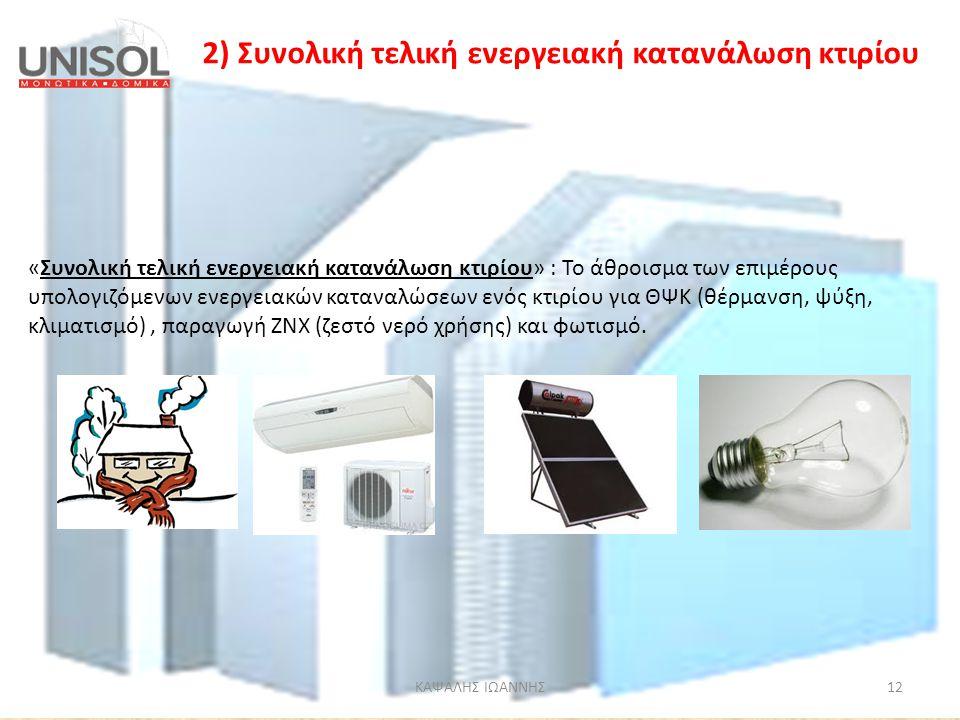 2) Συνολική τελική ενεργειακή κατανάλωση κτιρίου