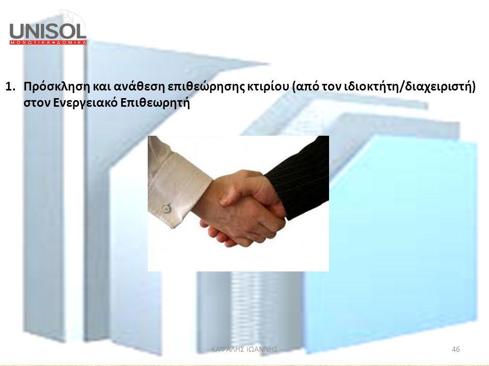 Πρόσκληση και ανάθεση επιθεώρησης κτιρίου (από τον ιδιοκτήτη/διαχειριστή) στον Ενεργειακό Επιθεωρητή