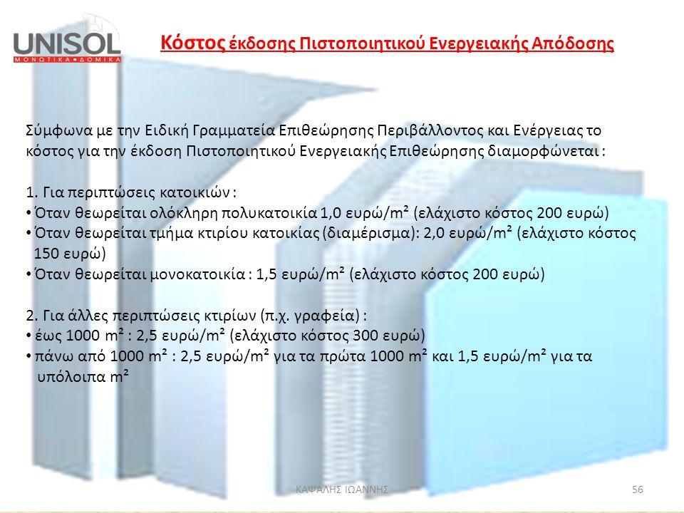 Κόστος έκδοσης Πιστοποιητικού Ενεργειακής Απόδοσης