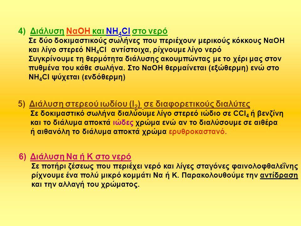 4) Διάλυση ΝαΟΗ και ΝΗ4Cl στο νερό
