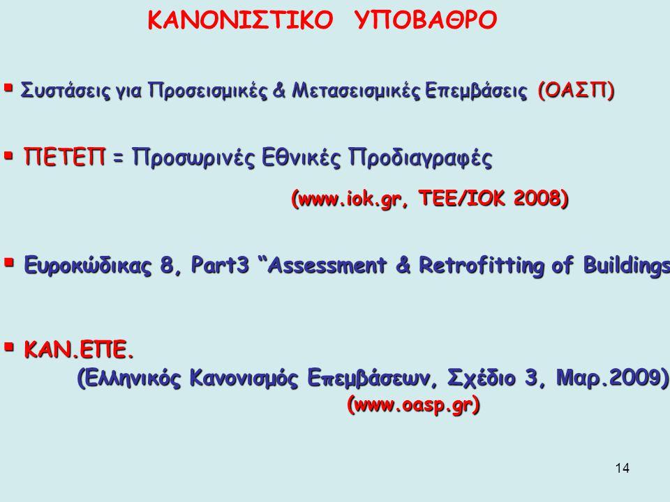 ΚΑΝΟΝΙΣΤΙΚΟ ΥΠΟΒΑΘΡΟ Συστάσεις για Προσεισμικές & Μετασεισμικές Επεμβάσεις (ΟΑΣΠ) ΠΕΤΕΠ = Προσωρινές Εθνικές Προδιαγραφές.