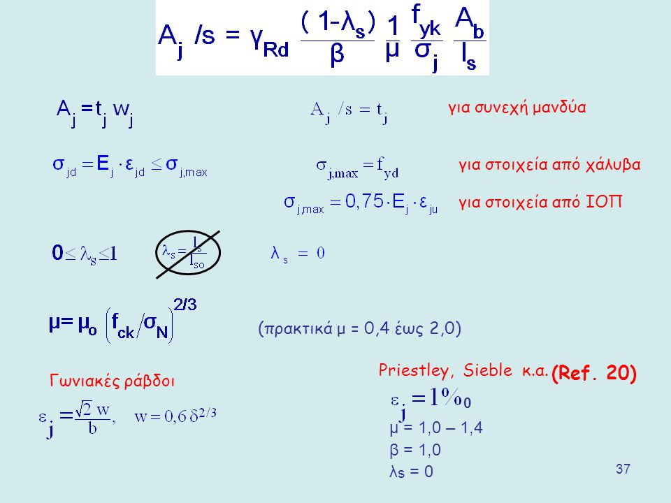 (Ref. 20) για συνεχή μανδύα για στοιχεία από χάλυβα