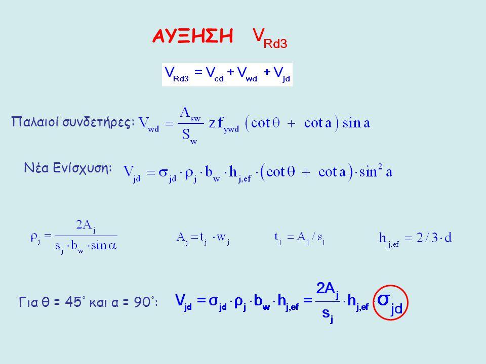 ΑΥΞΗΣΗ Παλαιοί συνδετήρες: Νέα Ενίσχυση: Για θ = 45° και α = 90°: