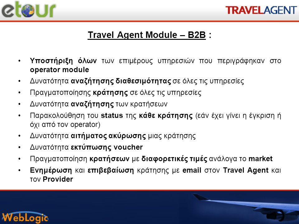 Travel Agent Module – B2B :