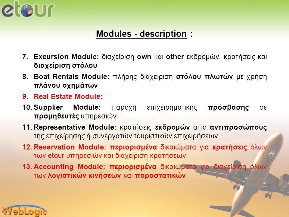 Modules - description :