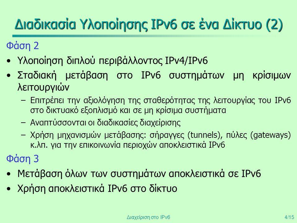 Διαδικασία Υλοποίησης IPv6 σε ένα Δίκτυο (2)