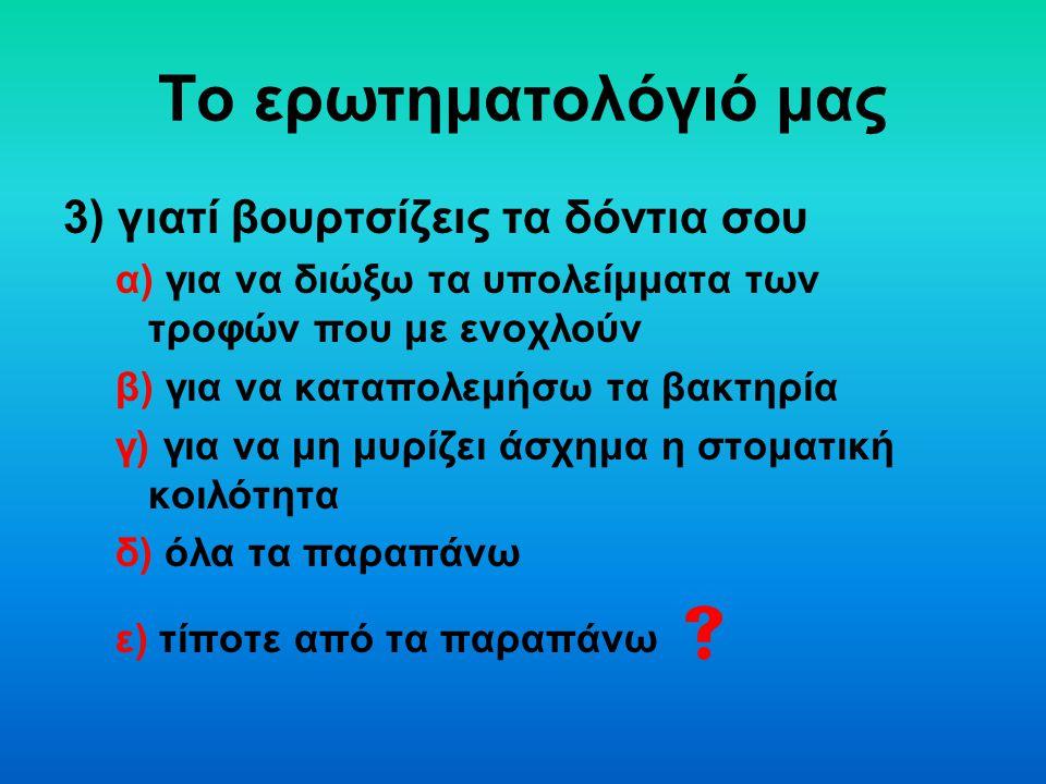 Το ερωτηματολόγιό μας 3) γιατί βουρτσίζεις τα δόντια σου