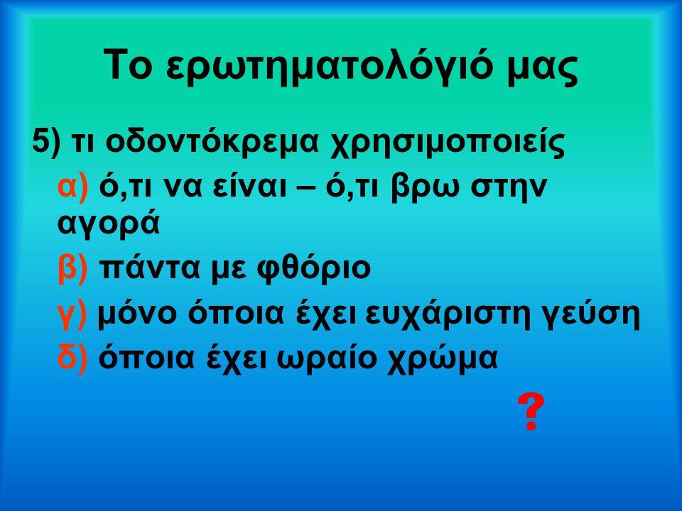 Το ερωτηματολόγιό μας  5) τι οδοντόκρεμα χρησιμοποιείς