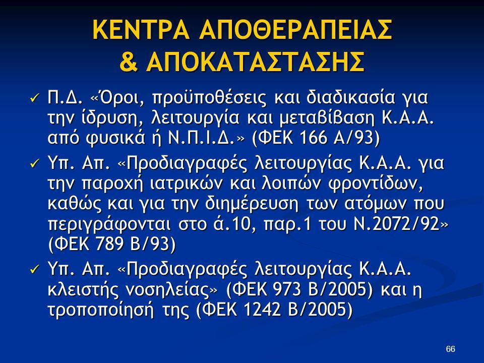 ΚΕΝΤΡΑ ΑΠΟΘΕΡΑΠΕΙΑΣ & ΑΠΟΚΑΤΑΣΤΑΣΗΣ