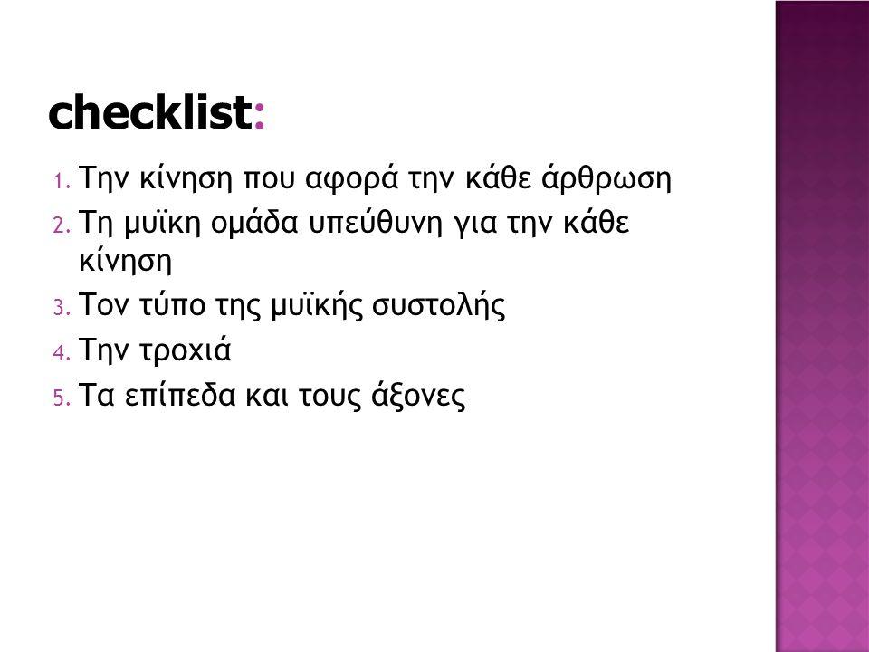 checklist: Την κίνηση που αφορά την κάθε άρθρωση