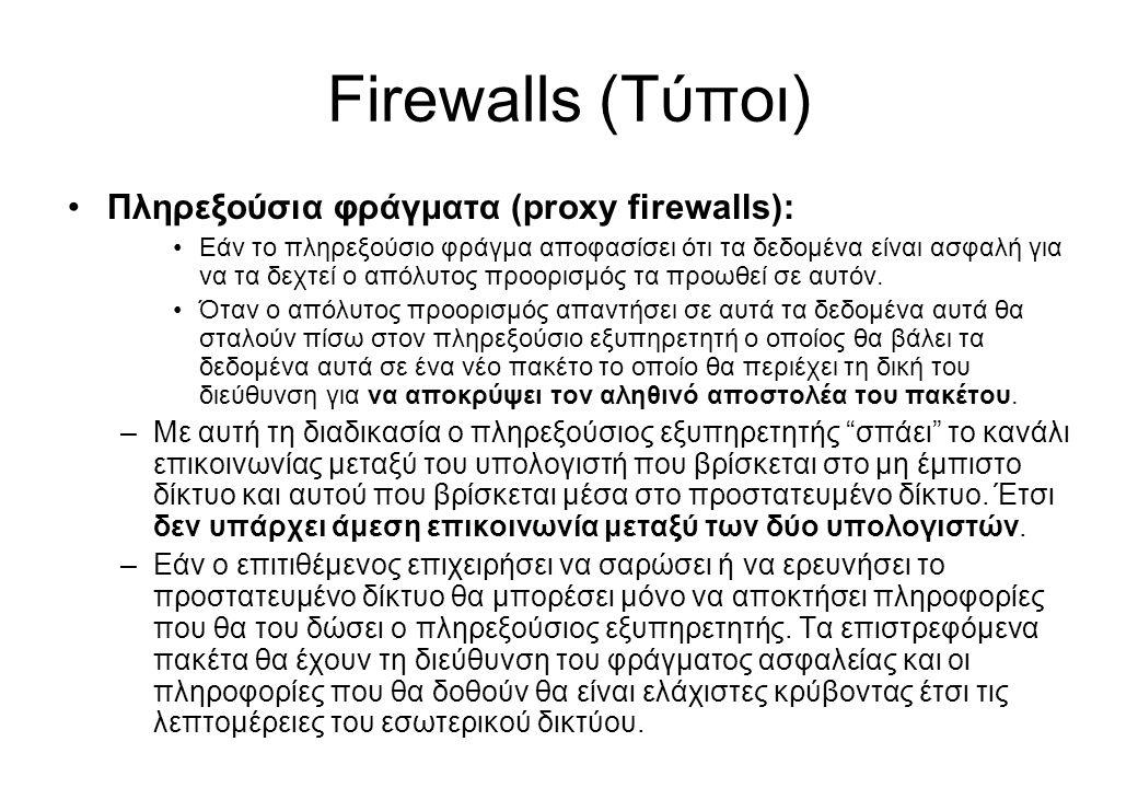 Firewalls (Τύποι) Πληρεξούσια φράγματα (proxy firewalls):