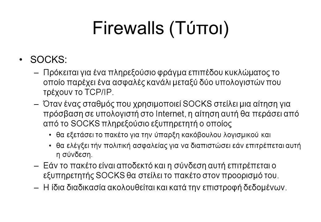 Firewalls (Τύποι) SOCKS: