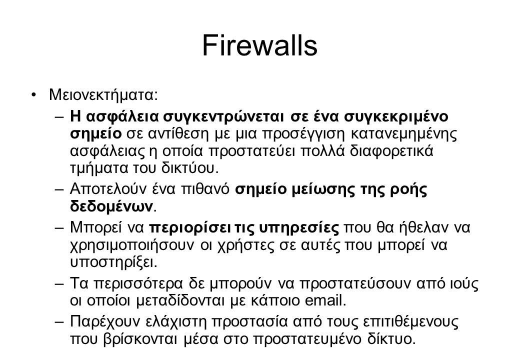 Firewalls Μειονεκτήματα: