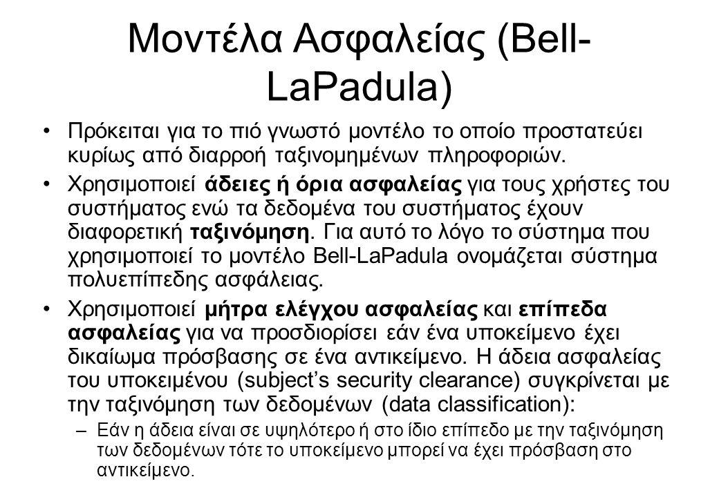 Μοντέλα Ασφαλείας (Bell-LaPadula)