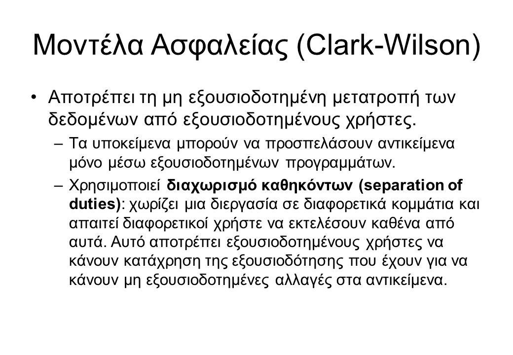 Μοντέλα Ασφαλείας (Clark-Wilson)