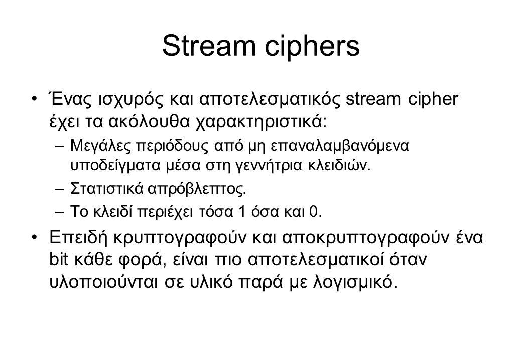 Stream ciphers Ένας ισχυρός και αποτελεσματικός stream cipher έχει τα ακόλουθα χαρακτηριστικά: