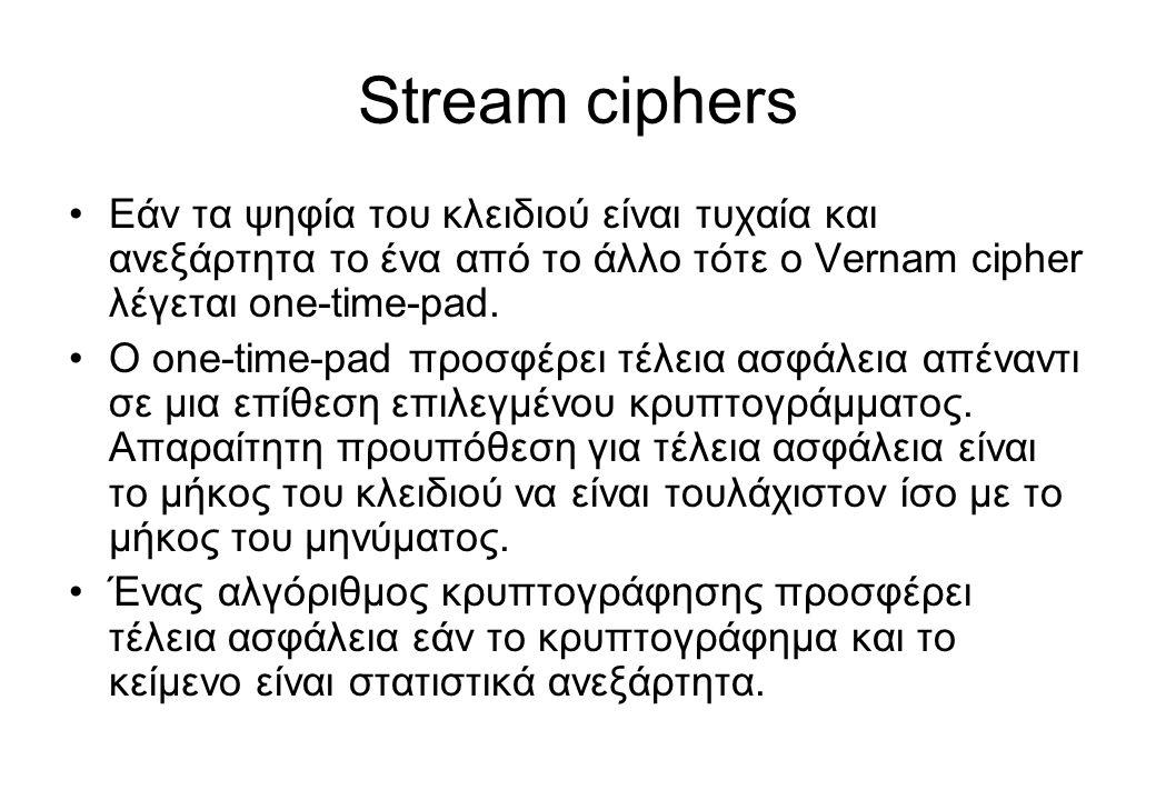 Stream ciphers Εάν τα ψηφία του κλειδιού είναι τυχαία και ανεξάρτητα το ένα από το άλλο τότε ο Vernam cipher λέγεται one-time-pad.