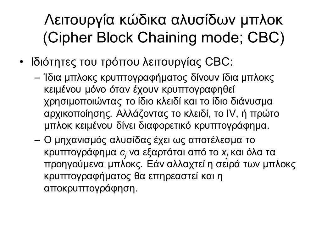 Λειτουργία κώδικα αλυσίδων μπλοκ (Cipher Block Chaining mode; CBC)