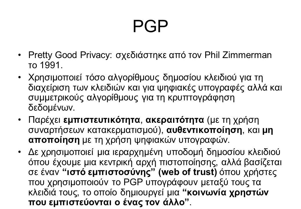 PGP Pretty Good Privacy: σχεδιάστηκε από τον Phil Zimmerman το 1991.