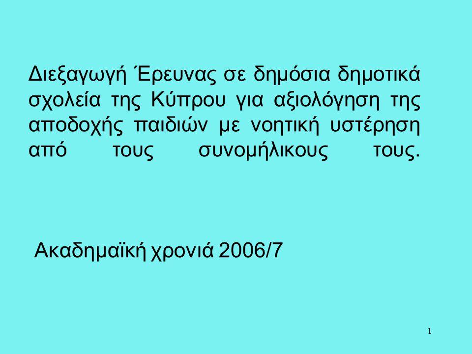 Διεξαγωγή Έρευνας σε δημόσια δημοτικά σχολεία της Κύπρου για αξιολόγηση της αποδοχής παιδιών με νοητική υστέρηση από τους συνομήλικους τους.