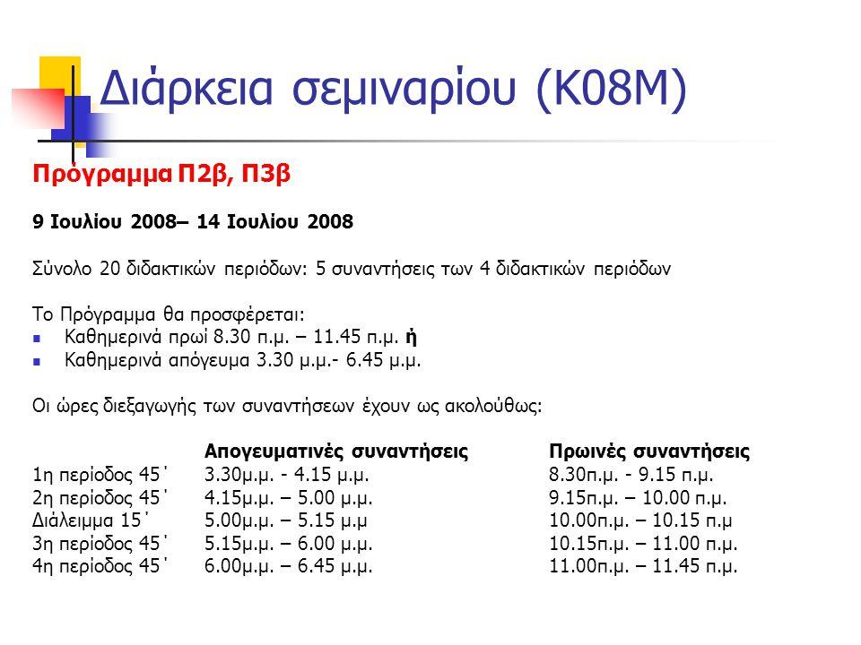 Διάρκεια σεμιναρίου (Κ08Μ)