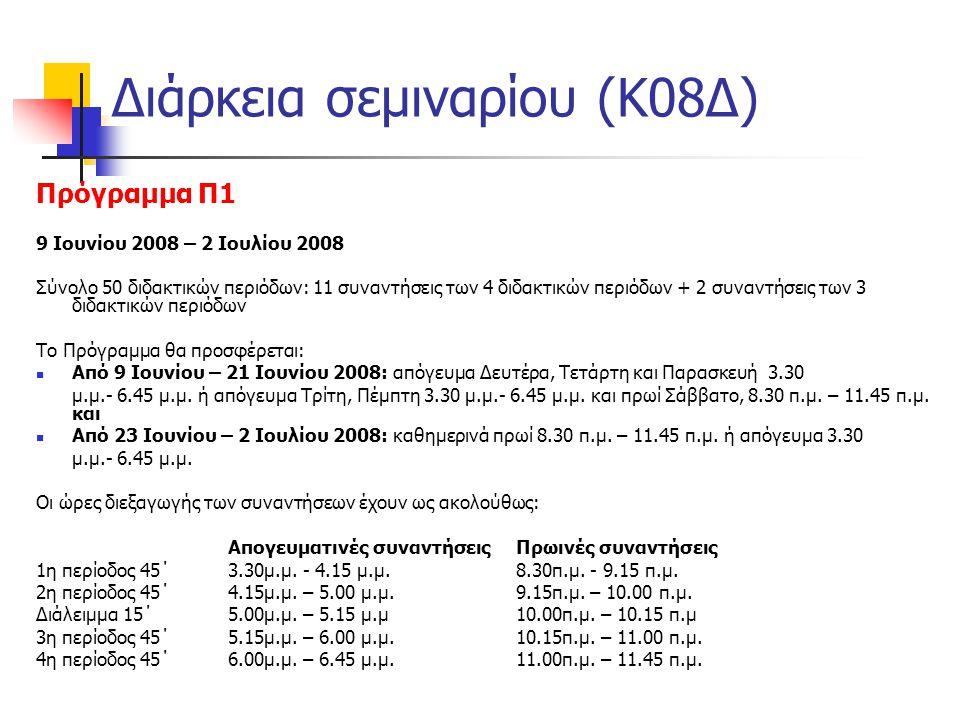 Διάρκεια σεμιναρίου (Κ08Δ)