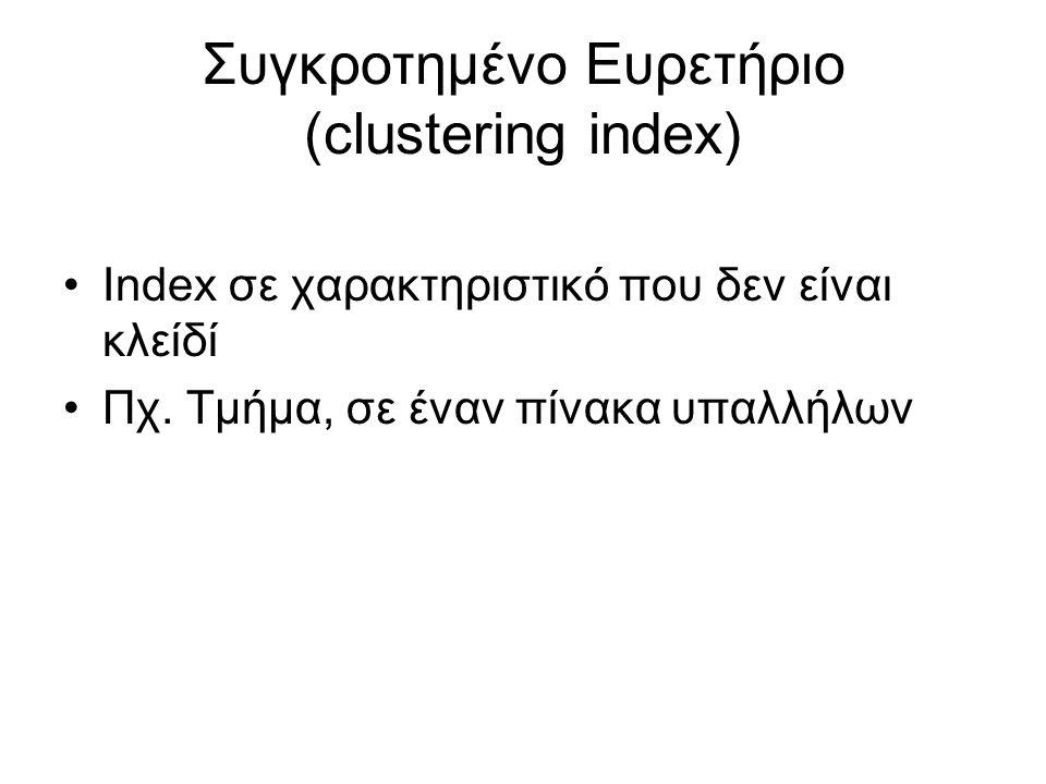 Συγκροτημένο Ευρετήριο (clustering index)