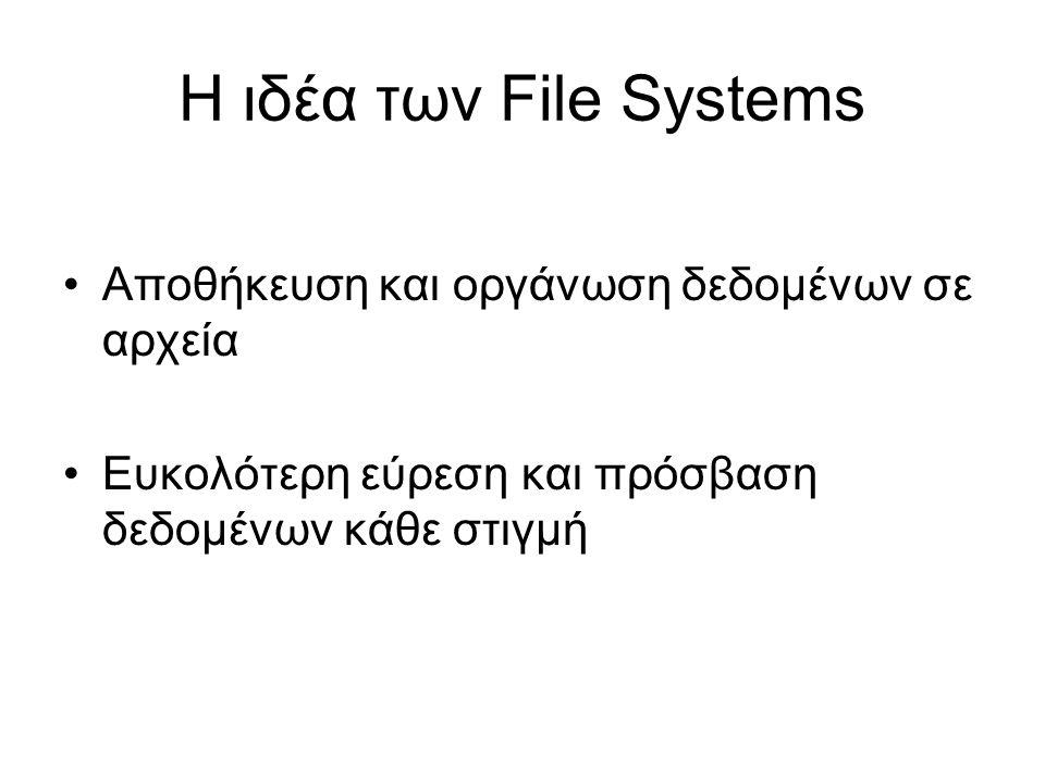Η ιδέα των File Systems Αποθήκευση και οργάνωση δεδομένων σε αρχεία